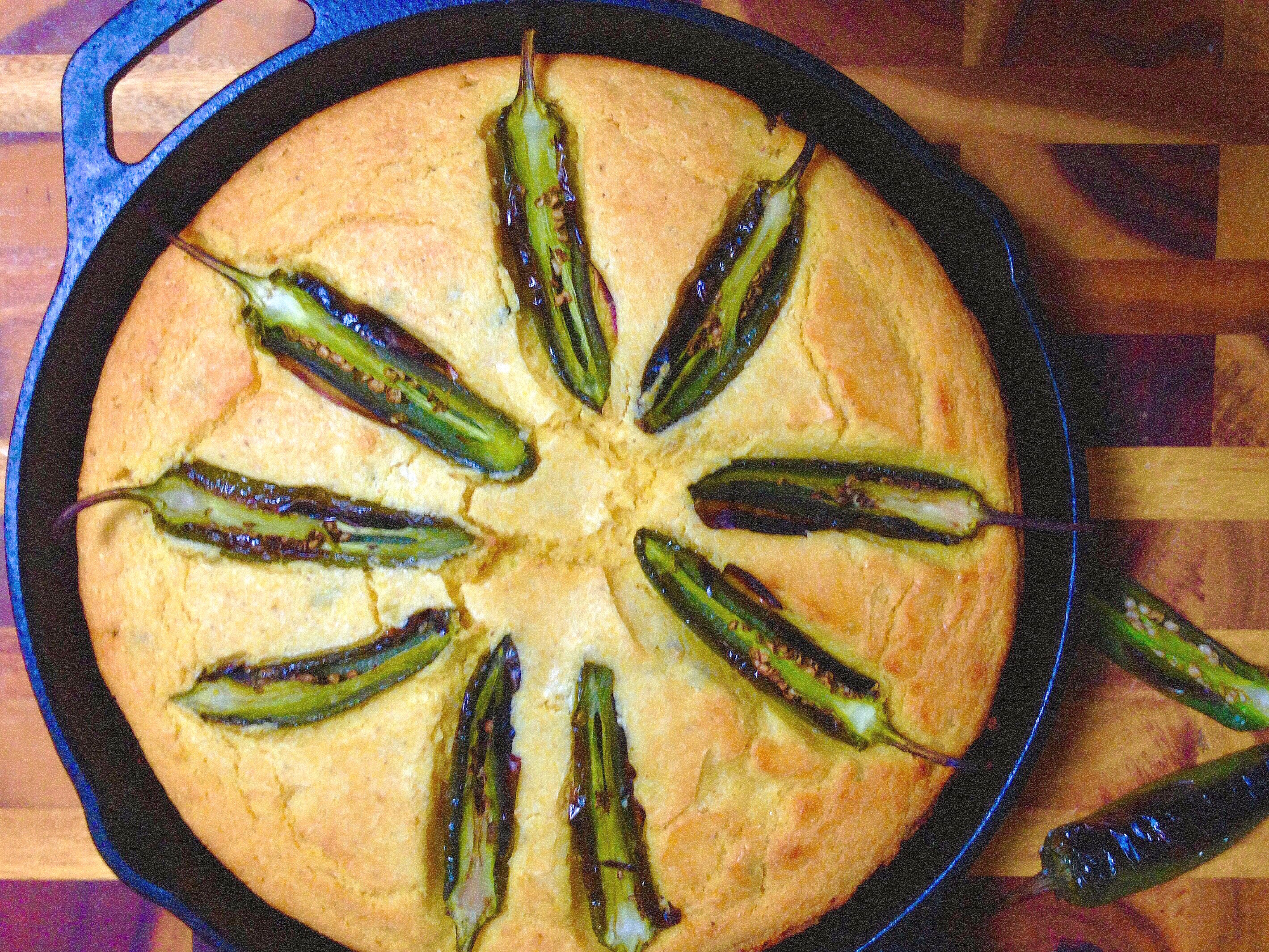 Southern cornbread with jalapeños and goat cheese!