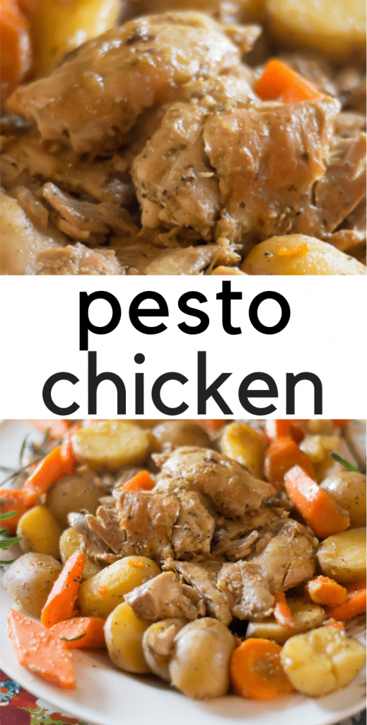 """Tender chicken thighs coated with pesto, seasoned carrots and potatoes all come together to make a """"roast-like"""" experience. Easy weeknight meal that will quickly become a family favorite."""