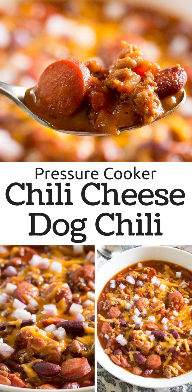 Chili cheese dog chili! Easy pressure cooker recipe that your kids will love!