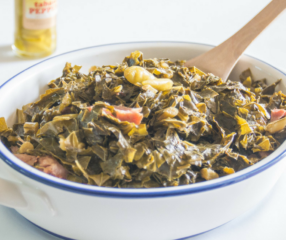 Tender collard greens, southern as you can get! Stovetop and pressure cooker instructions.