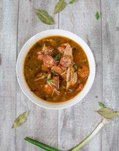 Delicious chicken and sausage gumbo that all starts with an easy peasy oven roux!
