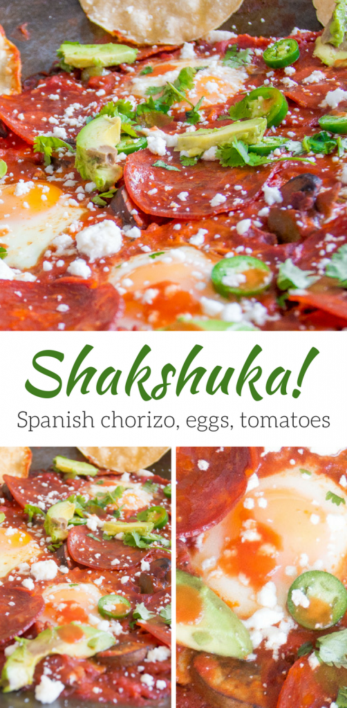 Shakshuka - easy, whole food, perfect for breakfast or dinner! Eggs simmered in a rich, spicy tomato sauce with Spanish chorizo, jalapeños, and veggies. Serve with crusty bread and avocados!