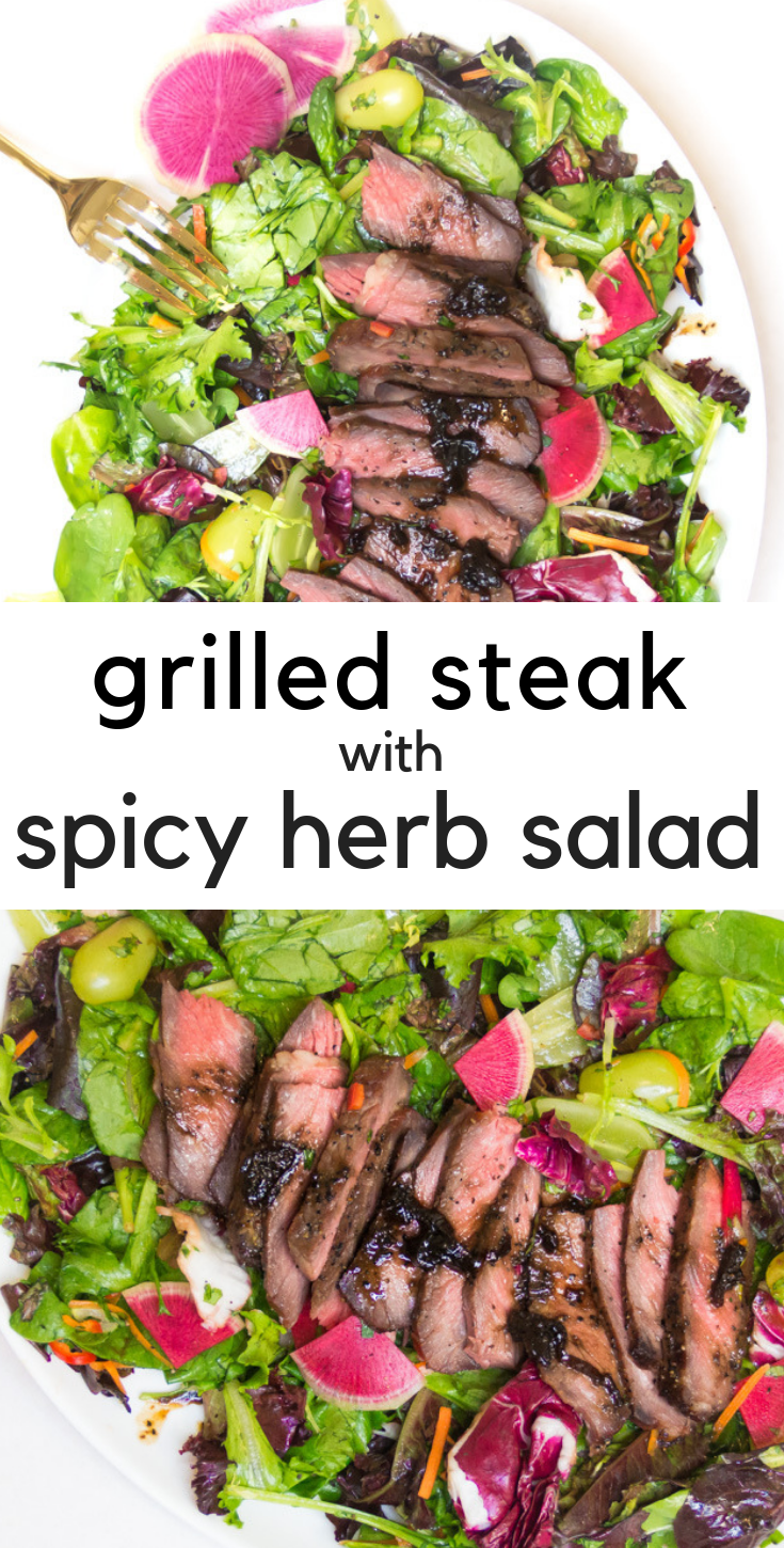 Grilled Steak with Spicy Herb Salad