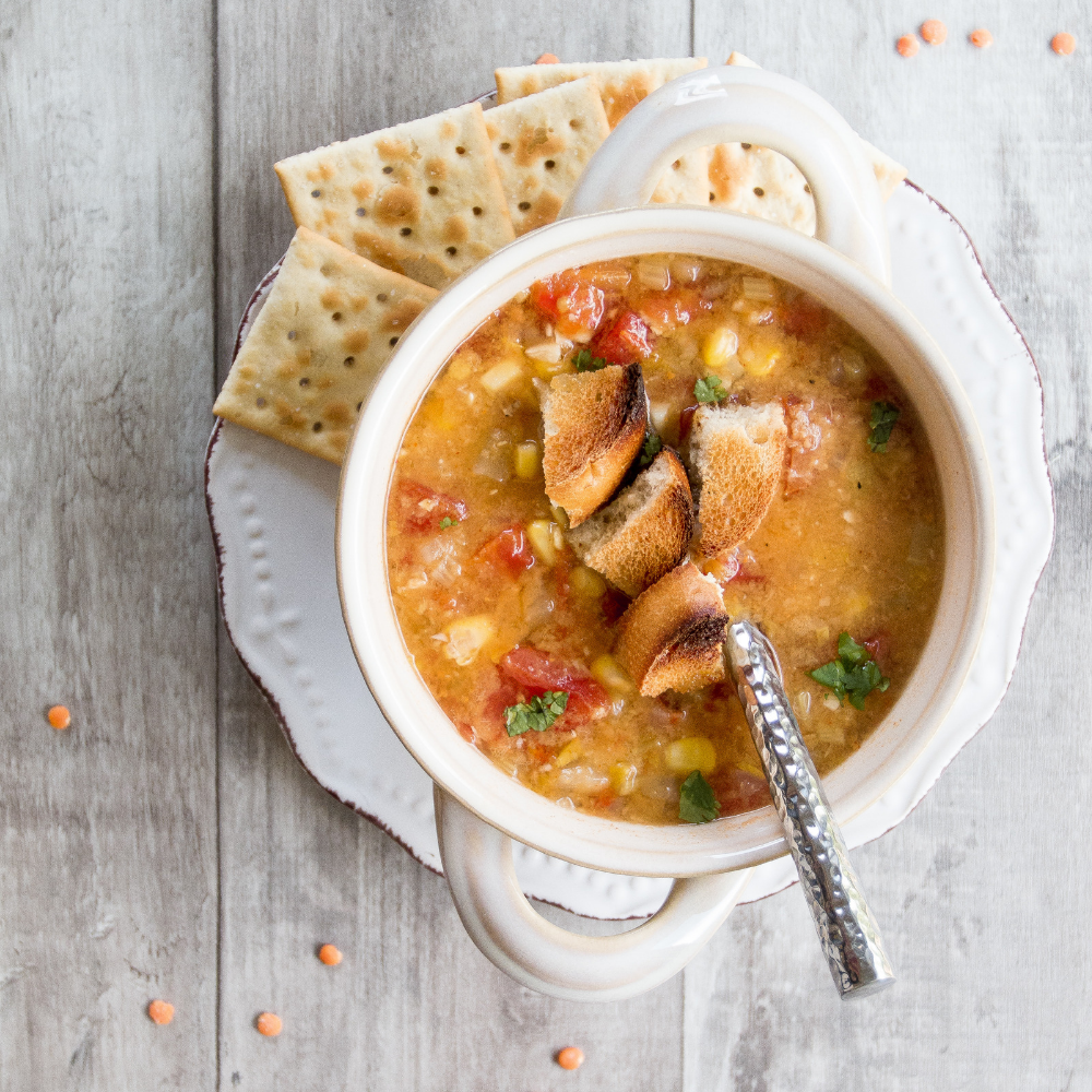 Spicy red lentil soup - hearty, full of veg and totally healthy!