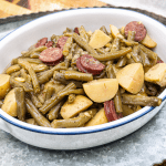 Instant Pot Southern Green Beans - Delicious southern green beans - tastes like you cooked them on the stove for hours! Bonus points for PIP (pot in pot) rice!