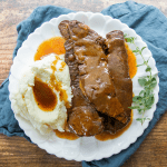 Ribs and gravy is just what you need if you're craving down-home, juts-like-mom-used-to-make goodness! No crazy ingredients, no can of anything! Just delicious food fast!