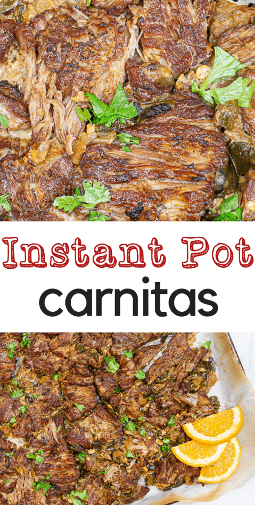 Tender, juicy carnitas in your Instant Pot or pressure cooker! Simple ingredients with a special ingredient to finish them off!