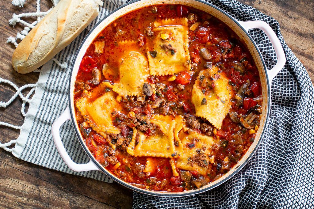 Beefy ravioli soup is like a warm hug at the end of a busy, cold day. It's so easy in your Instant Pot. Serve with warm crusty bread and you're golden!